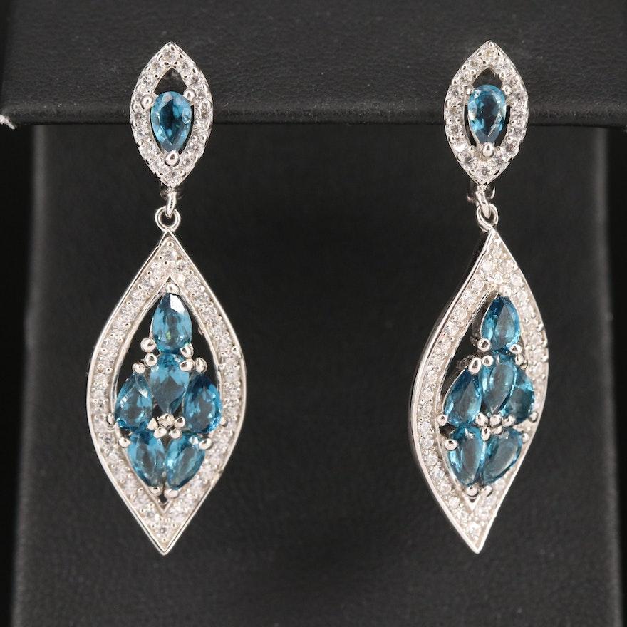 Sterling Cubic Zirconia Arabesque Earrings