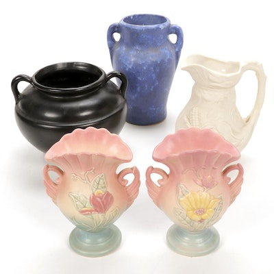 Robinson Ransbottom and Other Pottery Vases and Pitcher, Mid-Late 20th Century