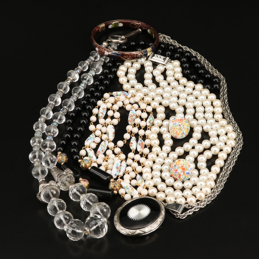 Pearl and Gemstone Jewelry Featuring Sterling, Carolee and Cloisonné Bangle