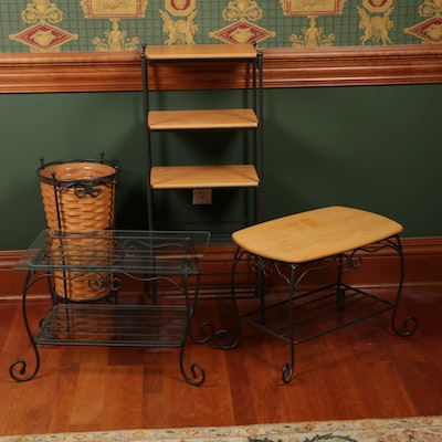 Longaberger Wrought Iron Five-Tier Stand, Side Tables and Basket Umbrella Stand