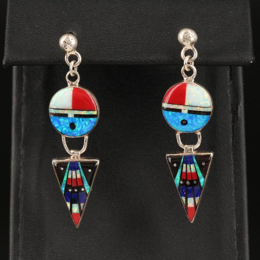 Western Sterling Inlay Dangle Earrings with Opal