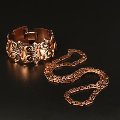 Copper Scrollwork Panel Bracelet and Stainless Steel Fancy Link Necklace