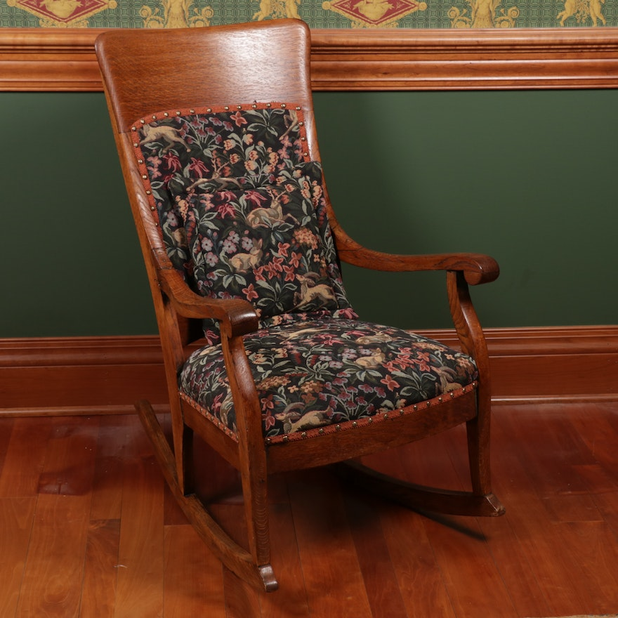 Oak Upholstered Rocker, Late 19th/ Early 20th Century