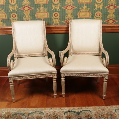 Pair of Vanguard Furniture Gustavian Style Upholstered Armchairs