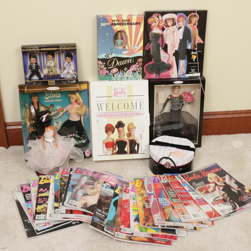 Mattel Barbie Dolls, Magazines, and Collector's Items Including Elvis Presley