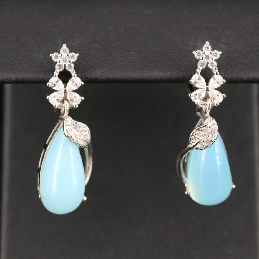 Sterling Chalcedony and Cubic Zirconia Flower Earrings