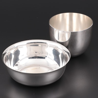 Plateria Mendoza for Cartier 950 Silver Bowl with Stieff Sterling Jefferson Cup