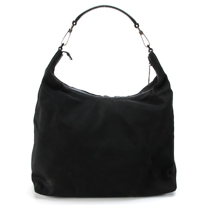 Gucci Hobo Bag in Black Nylon and Leather