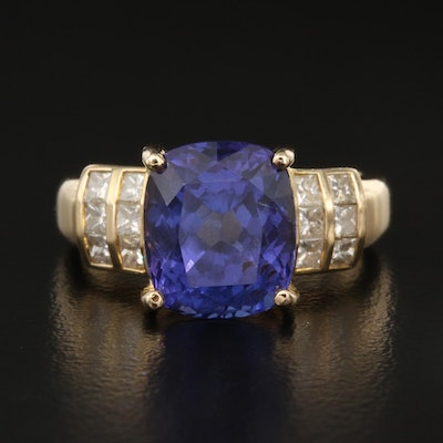 14K 5.50 CT Tanzanite and Diamond Ring