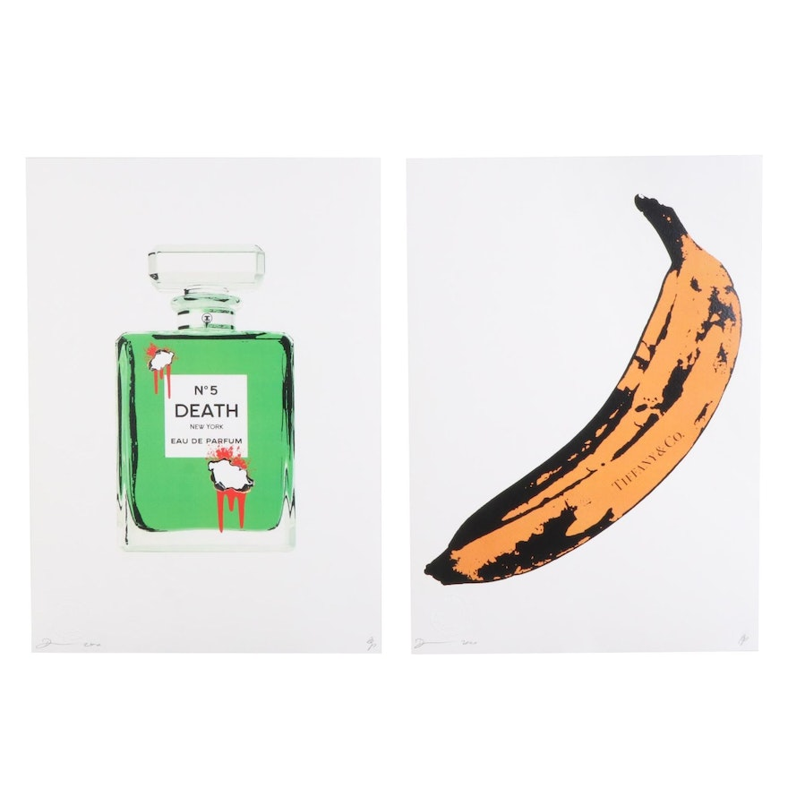 "Death NYC Graphic Prints ""Bleeding No.5"" and ""Tiff Banana O,"" 2020"