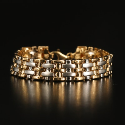 10K Two-Tone Fancy Link Bracelet