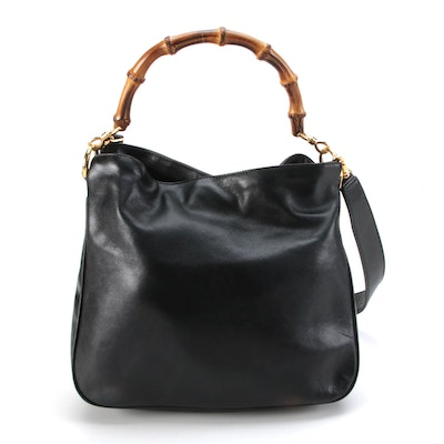 Gucci Bamboo Handle Two-Way Handbag in Black Leather