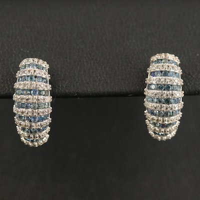 Sterling Sapphire Tapered Earrings