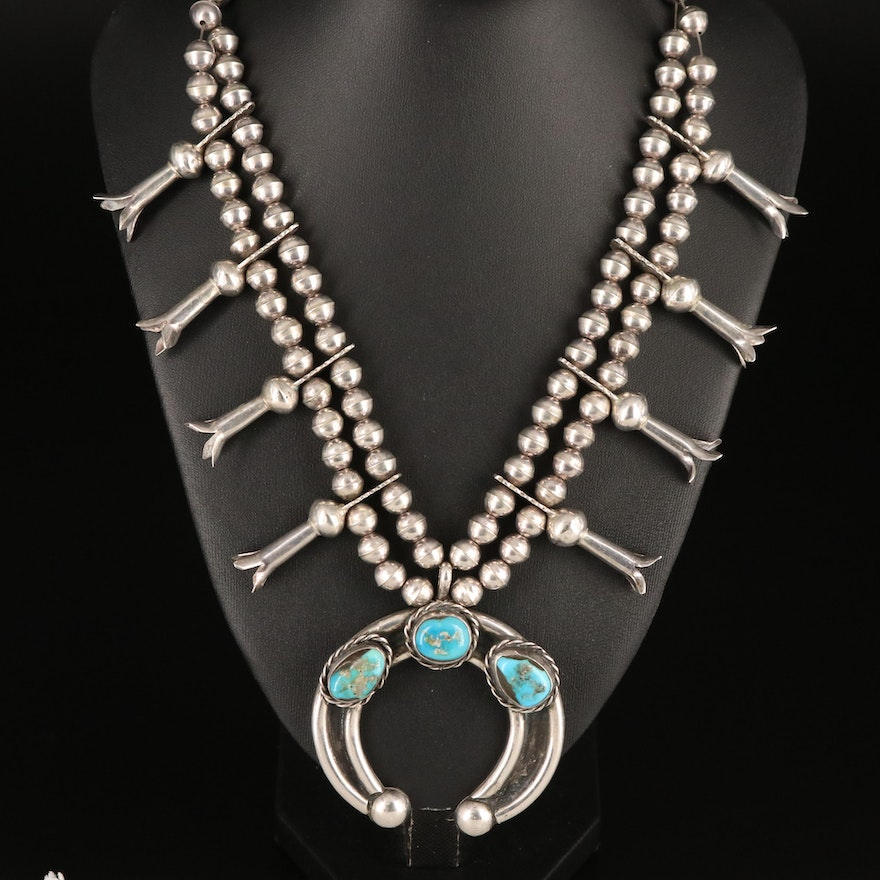 Southwestern Artist Signed Sterling Squash Blossom Necklace with Turquoise Naja