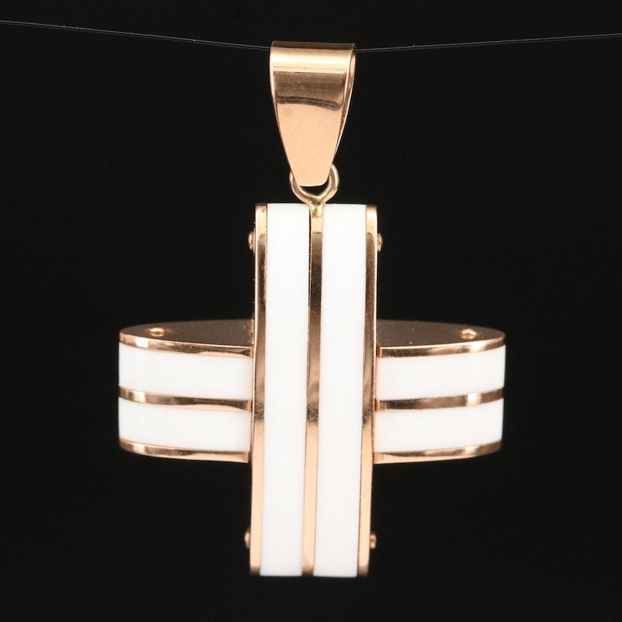 18K Acrylic Cross Pendant