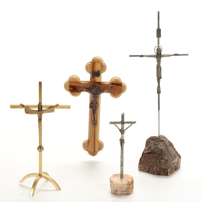 Olive Wood Crucifix from Jerusalem and  Other Tabletop Metal Crucifixes