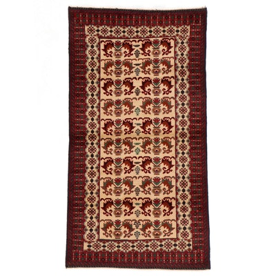 3'6 x 6'7 Hand-Knotted Afghan Baluch Area Rug