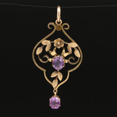 Vintage 9K and 10K Amethyst Lavalier Pendant with Leaf Details