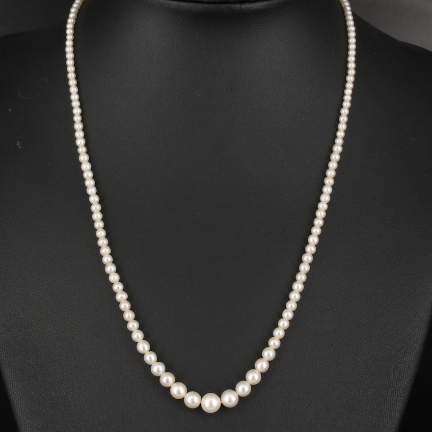 Graduated Strand of Natural Pearls with Platinum and 14K Clasp plus GIA Report