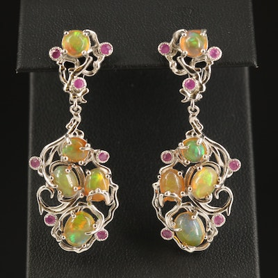 Sterling Opal and Corundum Dangle Earrings
