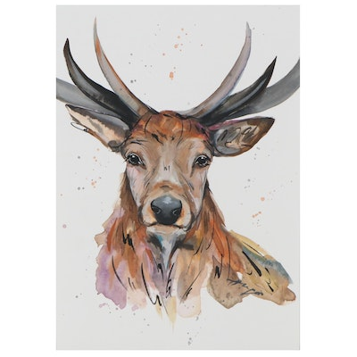 "Anne ""Angor"" Gorywine Watercolor Painting of Elk, 2020"