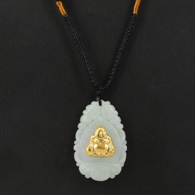 Carved Jadeite and 24K Budai Pendant Necklace