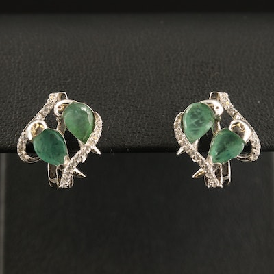 Sterling Beryl and Cubic Zirconia Earrings
