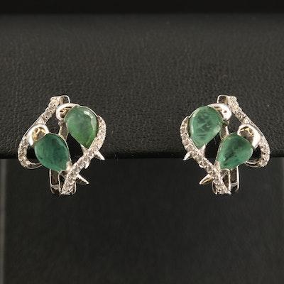 Sterling Beryl and Cubic Zirconia Earrings