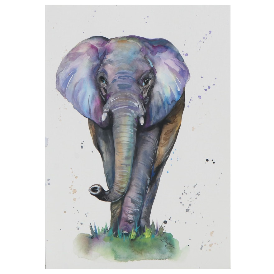 """Anne """"Angor"""" Gorywine Watercolor Painting of Elephant, 2020"""