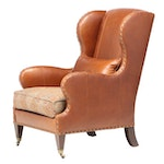 Drexel Heritage Leather and Brass Tack Wingback Chair