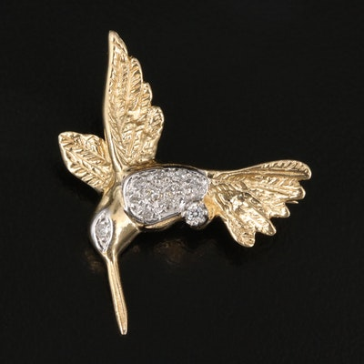 14K Diamond and Cubic Zirconia Hummingbird Brooch