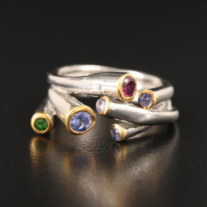 Sterling Tanzanite and Gemstone Multi-Row Ring