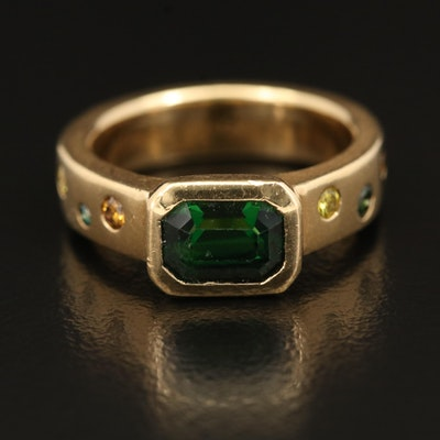 18K 1.65 CT Tsavorite and Diamond Ring