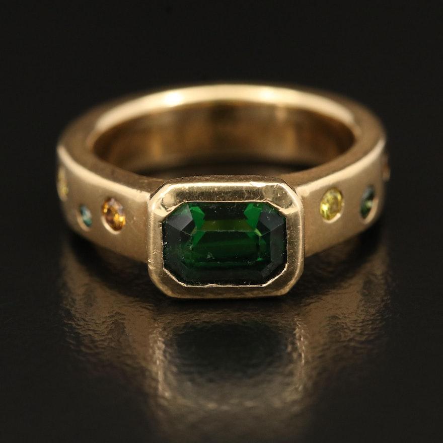 18K 1.65 CT Tsavorite and Diamond Ring