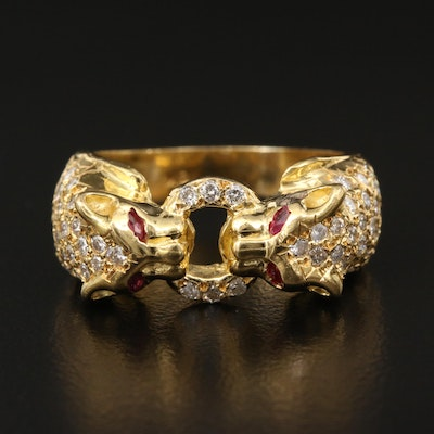 18K 1.02 CTW Diamond and Ruby Double Panther Ring