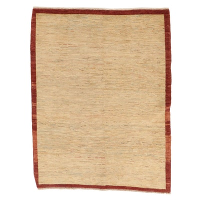 5'2 x 6'10 Hand-Knotted Pakistani Gabbeh Wool Area Rug