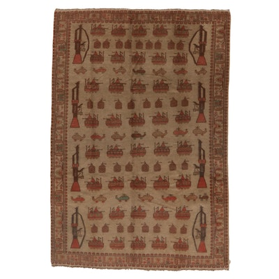 7'10 x 9' Hand-Knotted Afghan War Rug