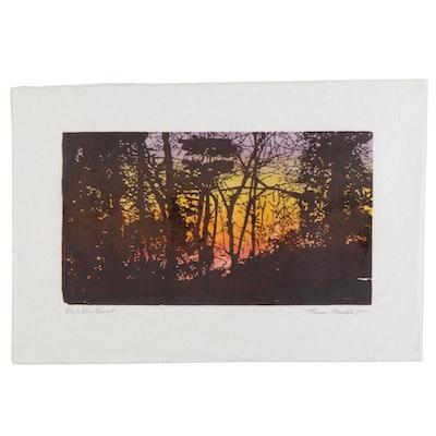 "Thomas Norulak Woodcut ""Black Bear Sunset,"" 2017"