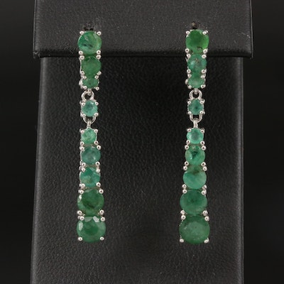Sterling Graduated Emerald Earrings