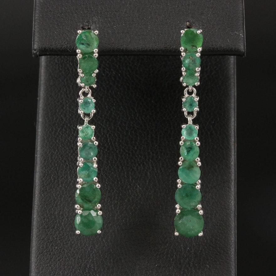 Sterling Graduated Emerald Earrings