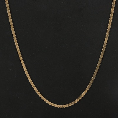 Italian 14K Serpentine Chain Necklace