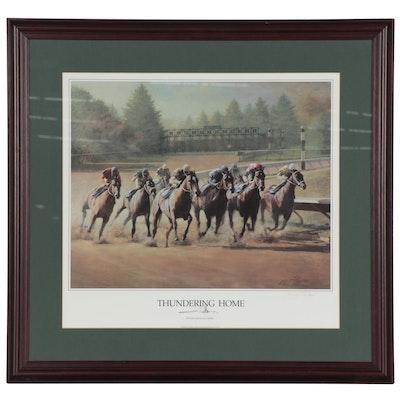 "James L. Crow Offset Lithograph ""Thundering Home,"" circa 1993"