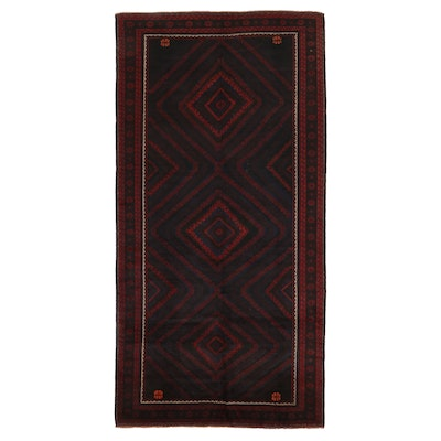 7'1 x 14'3 Hand-Knotted Afghan Baluch Room Sized Rug