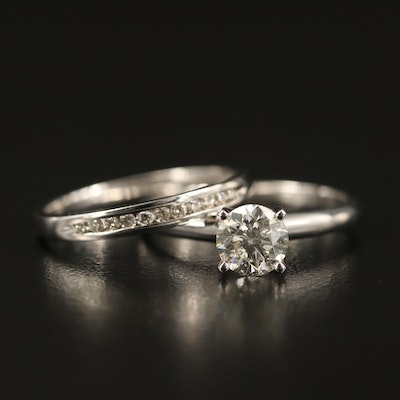 14K Diamond Solitaire Ring and Channel Band Set
