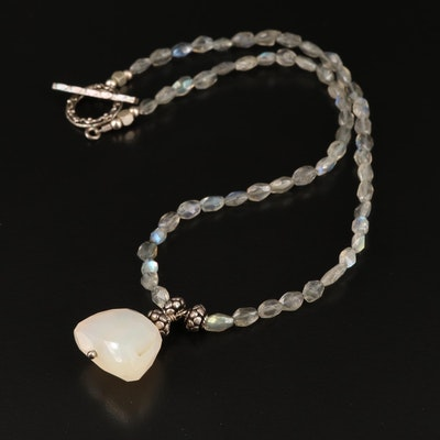 Sterling Labradorite and Agate Necklace