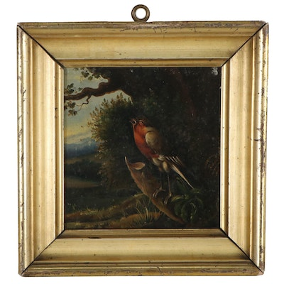 Oil Painting on Tin of European Robin, 19th Century