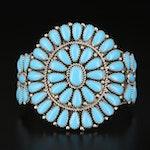 Southwestern Sterling Faux Turquoise Cluster Cuff Bracelet