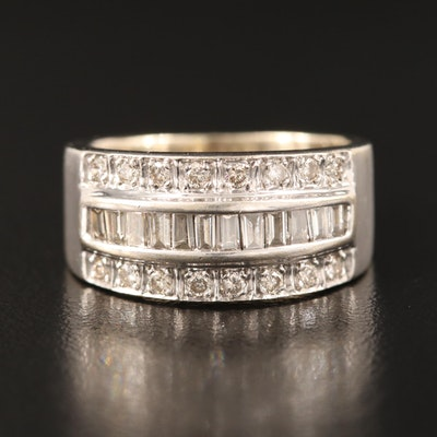 14K Diamond Multi-Row Ring