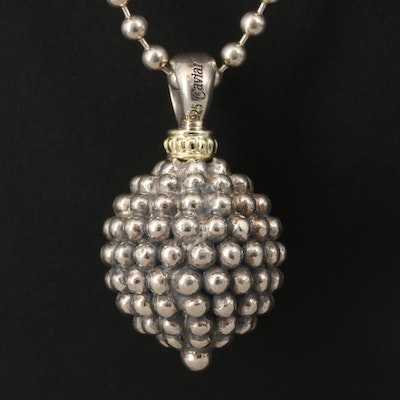 "Caviar by Lagos ""Caviar Ball"" Sterling Silver Pendant Necklace with 18K Accent"