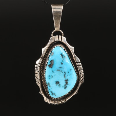 H. Spencer Navajo Diné Sterling Silver Turquoise Pendant
